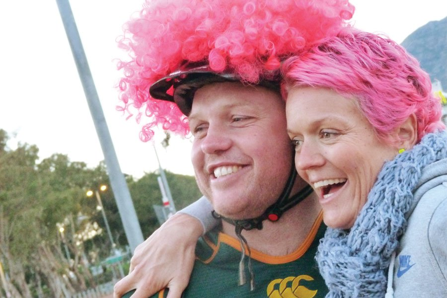 """Lettie Heyns seeing """"The Fat Kid On A Bike"""" off at the start of his journey in Cape Town."""