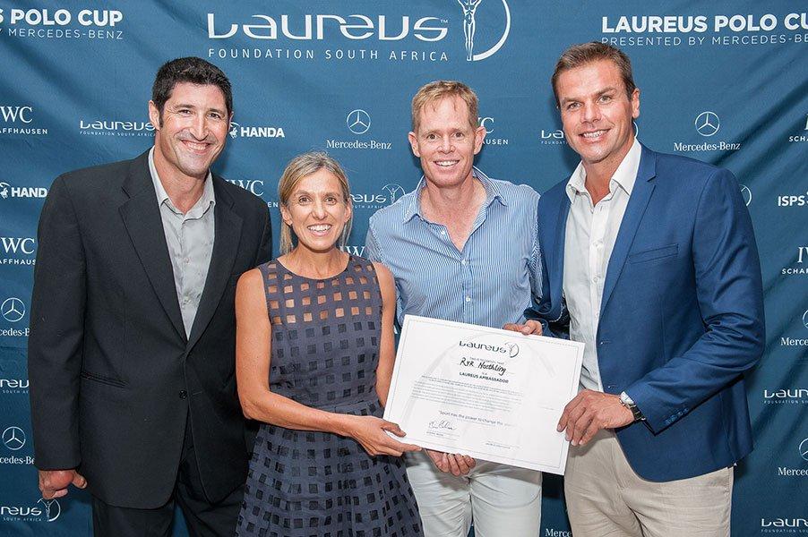 Laureus SA Ambassadors, from left: Ernst van Dyk, Elana Meyer, Shaun Pollock, Ryk-Neethling.